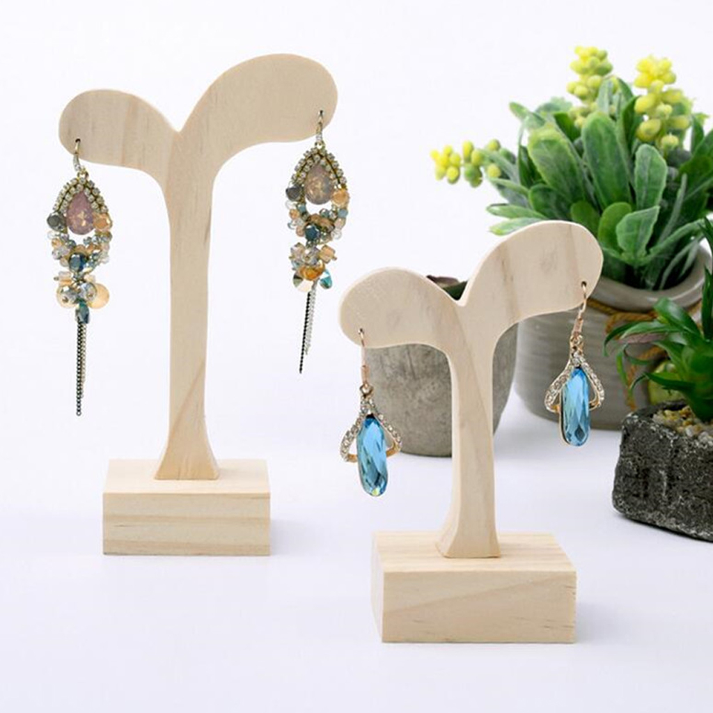 Natural Unfinished Wood Earring Stand Wooden Jewelry Display Holder Organizers