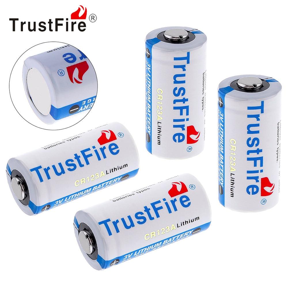 4 unids TrustFire CR123A 3 V batería 1400 mAh 16340 CR 123A batería de litio con válvula de seguridad para linterna Cámara auriculares