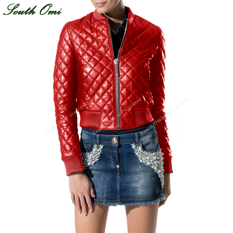 Red Leather Bomber Jacket Women - Coat Nj
