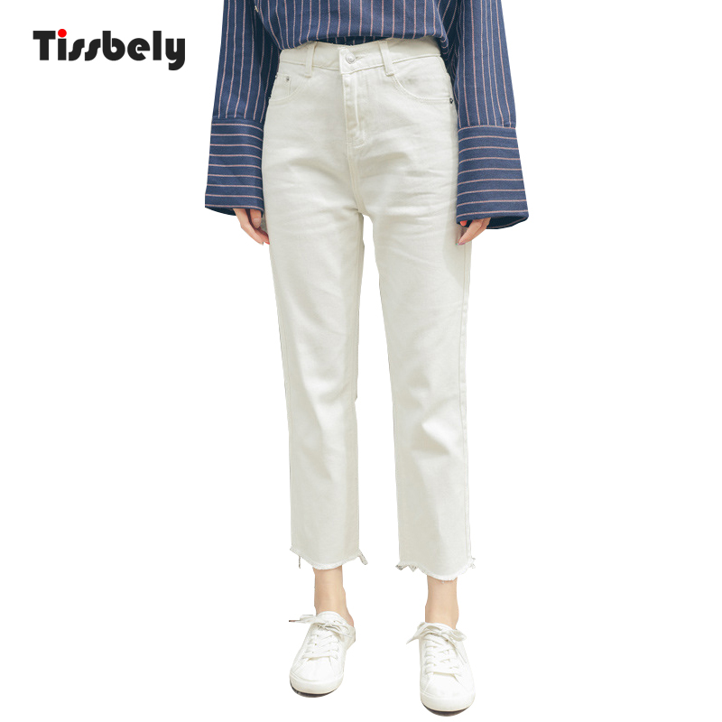 Tissbely Women White Straight   Jeans   High Waist Tassel White for Casual Ladies Style Collocation with Yellow