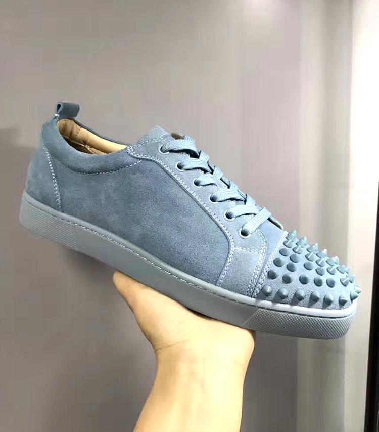 FEYOUS в европейском и американском стиле женская обувь, низкая мужские туфли, серая кожа, кожаные туфли, заклепки, спортивные туфли, пар.