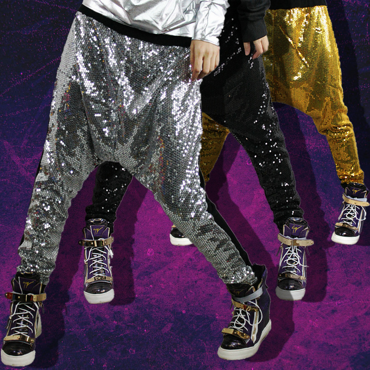 New Fashion Harem Pants Women Bling big crotch personalized hip hop dance stage costumes metal color Jazz trousers color splicing inclined zipper beam feet harem pants