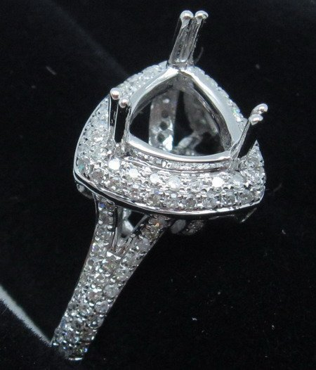0.72CT Trillion Cut Diamond 14K White Gold Ring