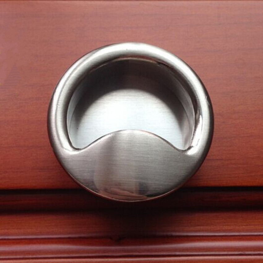 Us 45 0 10pcs Free Shipping Modern Simple Furniture Flush S Stain Silver Drawer Cabinet Pulls Brushed Nickel Dresser Handles In