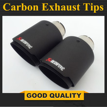 цены Car Styling Matte + Black stainless steel AK Akrapovic Muffler End Pipe exhaust pipe muffler For Universal Carbon Exhaust Tips