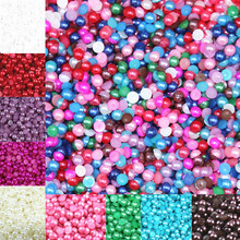 Free Shipping Many Colors 4mm 500Pcs Craft ABS Imitation Pearls Half Round Flatback Pearls Resin Scrapbook Beads Decorate Diy(China)