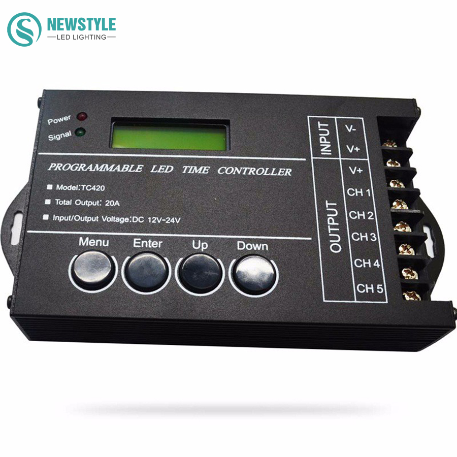 RGB LED Controller Time programable TC420/TC421 DC12V/24V 5Channel Total Output 20A Common Anode Programmable Free Shipping dmx512 digital display 24ch dmx address controller dc5v 24v each ch max 3a 8 groups rgb controller