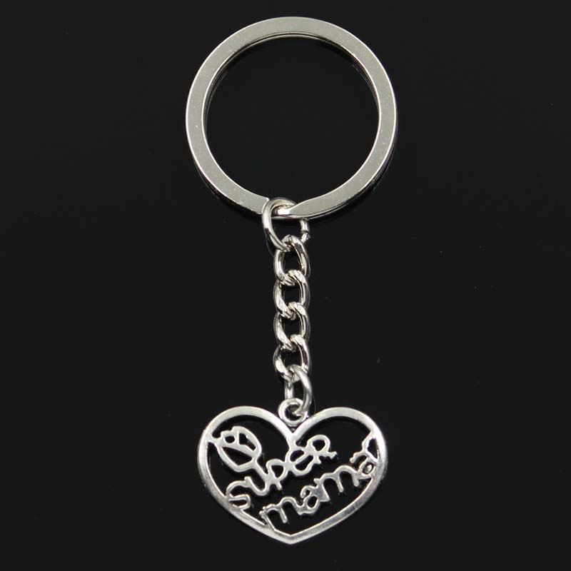 Fashion Keychain 20x26mm Heart Super Mama Pendants DIY Men Jewelry Car Key Chain Ring Holder Souvenir For Gift