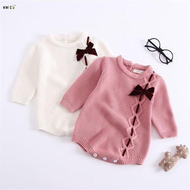 7e38165ac44a Autumn Winter Jumpsuit For Baby Girl Pure Cotton Bow knot Knitted ...