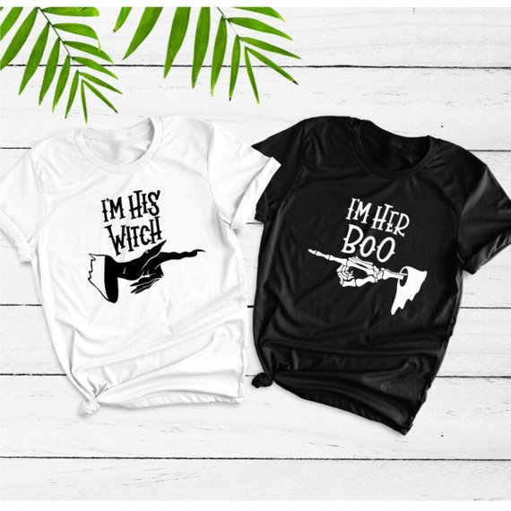 20cd5be4 Halloween Tees I'm His Witch I'm Her Boo Unisex T-Shirt Halloween Witch  Weekend Party Clothes Funny Slogan Couples Graphic shirt