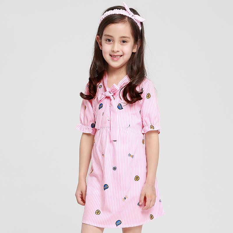 2018 Teennage Girls Casual Uniform Dress Pink Blue Fashion Design Tie Cute Stripe Clothes for Kids 6789 10 11 12 13 14 Years Old