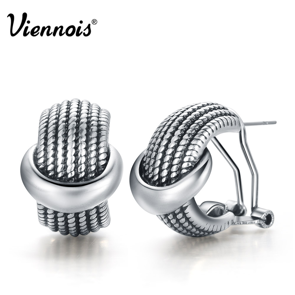 Viennois Vintage Silver Color Stud Earrings for Women Small Retro Earrings Female Party Jewelry Girls Earrings pair of stylish rhinestone triangle stud earrings for women