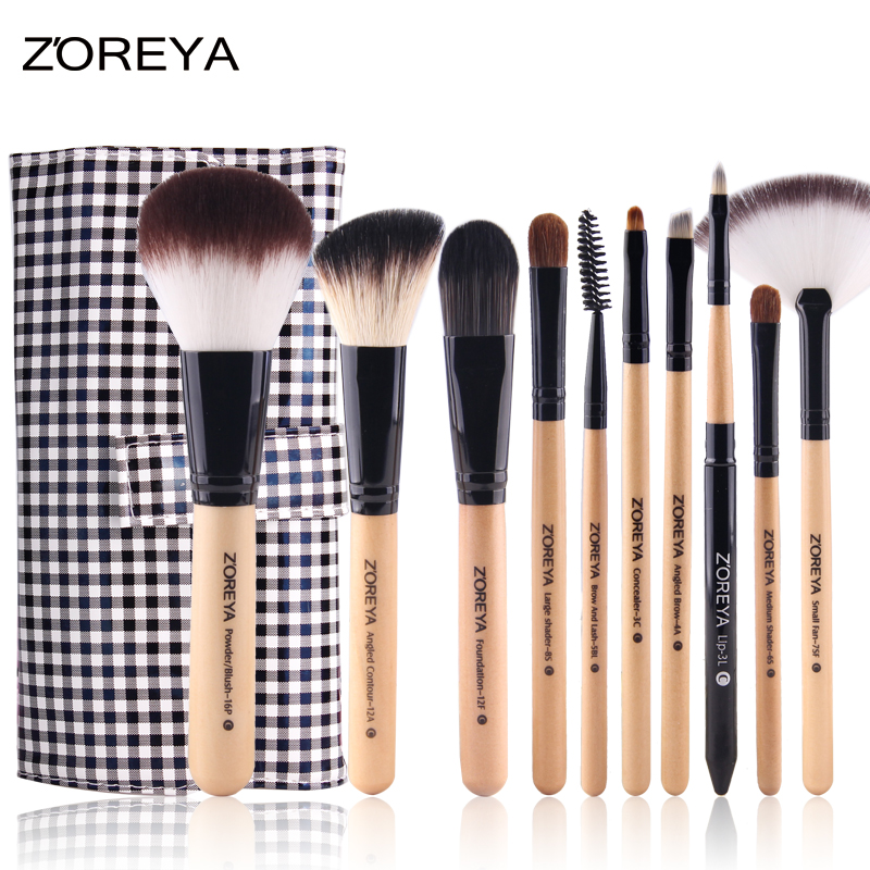 ZOREYA 10pcs Professional Makeup Brushes Wool Fiber Hair Powder Foundation Make Up Brush Brauty Women Cosmetic Tools Maquiagem h01 professional makeup brushes squirrel hair sokouhou goat hair powder brush walnut wood handle cosmetic tools make up brush