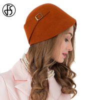 FS 100% Wool Orange Bowler Felt Fedora For Women Winter Vintage Sloppy Cloche Hats Lady Vintage Church Party Hats Chapeau Femme
