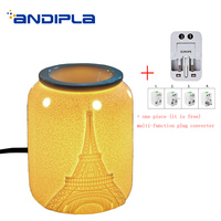 220v European Style Aroma Lamps Ceramic Night Light Bedside Decoration Essential Oil Heater Aromatic Stove SPA Incense Burner