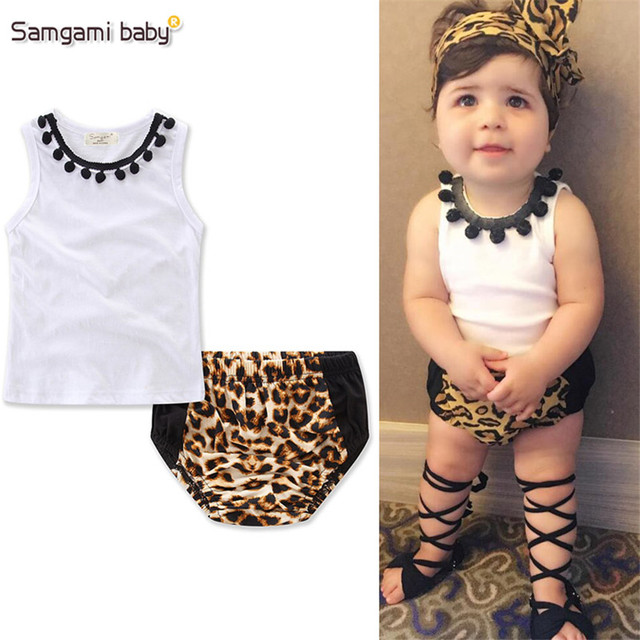 15be952509cc SAMGAMI BABY Toddler Girl Clothing White Tassel Ball Tops,Fashion Leopard  Print Shorts 2pcs kids Girls Clothes Outfits Tracksuit