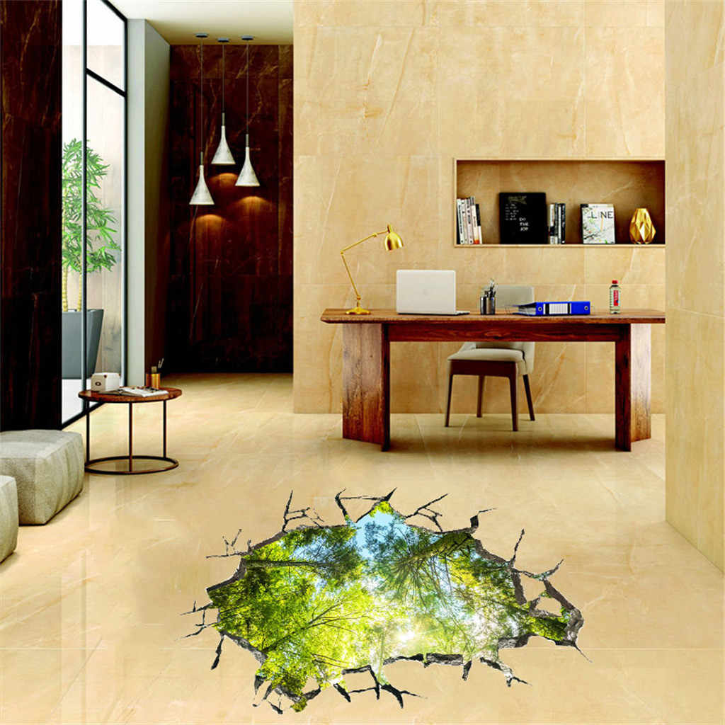 3D Broken Wall Nature Landscape Home Wall Stickers PVC Modern Forest Wallpaper Decal For Living Room Floor Ceiling Decoration