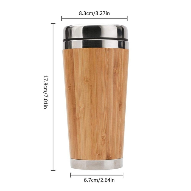 Bamboo Coffee Cup Stainless Steel Coffee Travel Mug With Leak-Proof Cover Insulated Coffee Accompanying Cup Reusable Cup 2