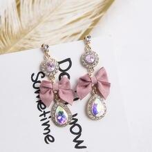 Новые милые Роскошные серьги подвески Стразы с розовым бантом