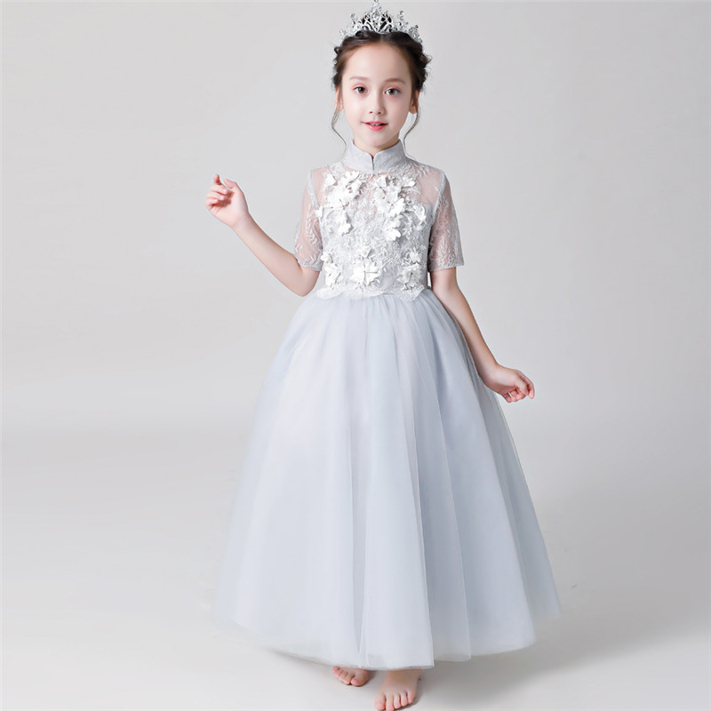 2018 Autumn New Children Girls Elegant Birthday Wedding Party Ball Gown Lace Flowers Dress Teens Model Show Host Pageant Dress