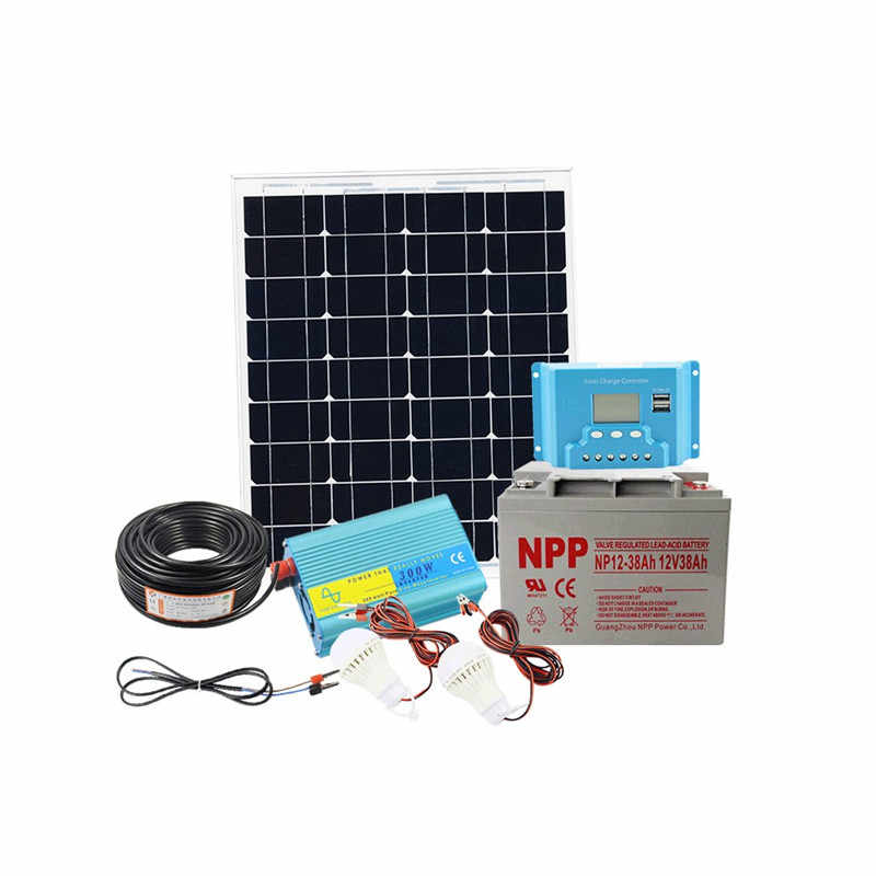 12V 50w solar system photovoltaic kit system power station for 12V solar panel batteries charger whole solar kit set with cable