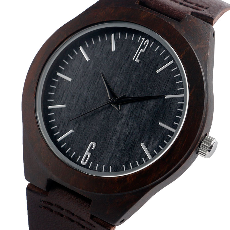 New Genuine Leather Band Strap Nature Wood Cool Bamboo Minimalist Women Wrist Watch Casual Gift Men relogio masculino casual deer head genuine leather band nature wood quartz wrist watch elk bamboo strap men women analog brown creative cool gift