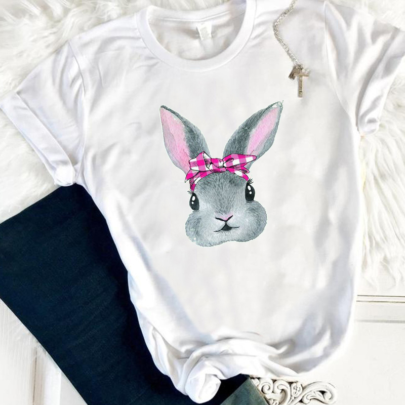 Vintage Womens Tshirt Gothic Top Easter Bunny Shirt Rabbit Tee Girls Happy Easter Graphic Tees