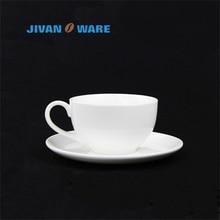 JIVANWARE European White Bone China Ceramic Coffee Cup Household Leisure Round Shaped Coffee Cup Dish Set WholeSale Available
