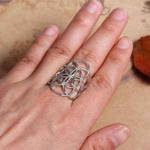 DoreenBeads New Fashion Copper Adjustable Seed Of Life Rings gold color Hollow Carved 17.1mm (US size 6.75), 1 PC