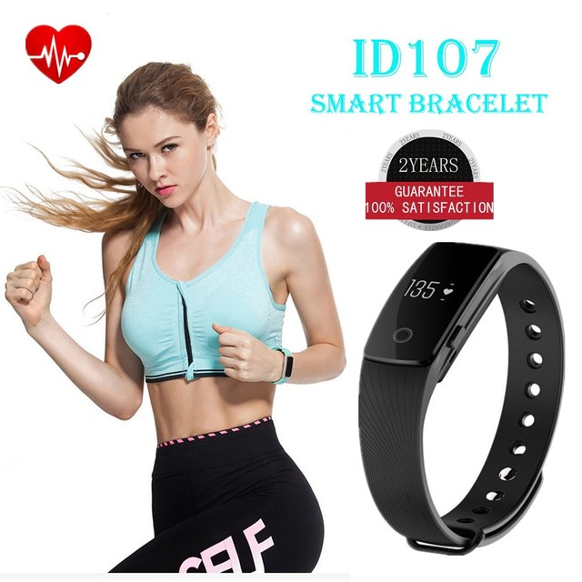 ID107 Bluetooth Fitness Bracelet Heart Rate Monitor Smart Band Activity Tracker Wristband for iOS Android pk fitbits mi band 2