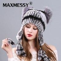 Inverno quente Chapéu De Pele Real Para As Mulheres de Lã de Malha Das Mulheres Gato orelhas de Coelho Chapéus De Pele Pom Pom Skullies Caps Gorros Bonnet Feminino