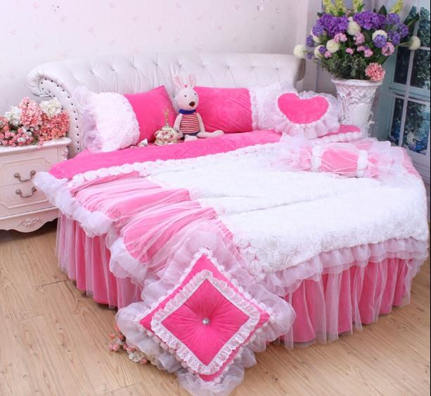 rose red lace wedding round bed bedding sets king size duvetcover luxury coral fleece winter. Black Bedroom Furniture Sets. Home Design Ideas
