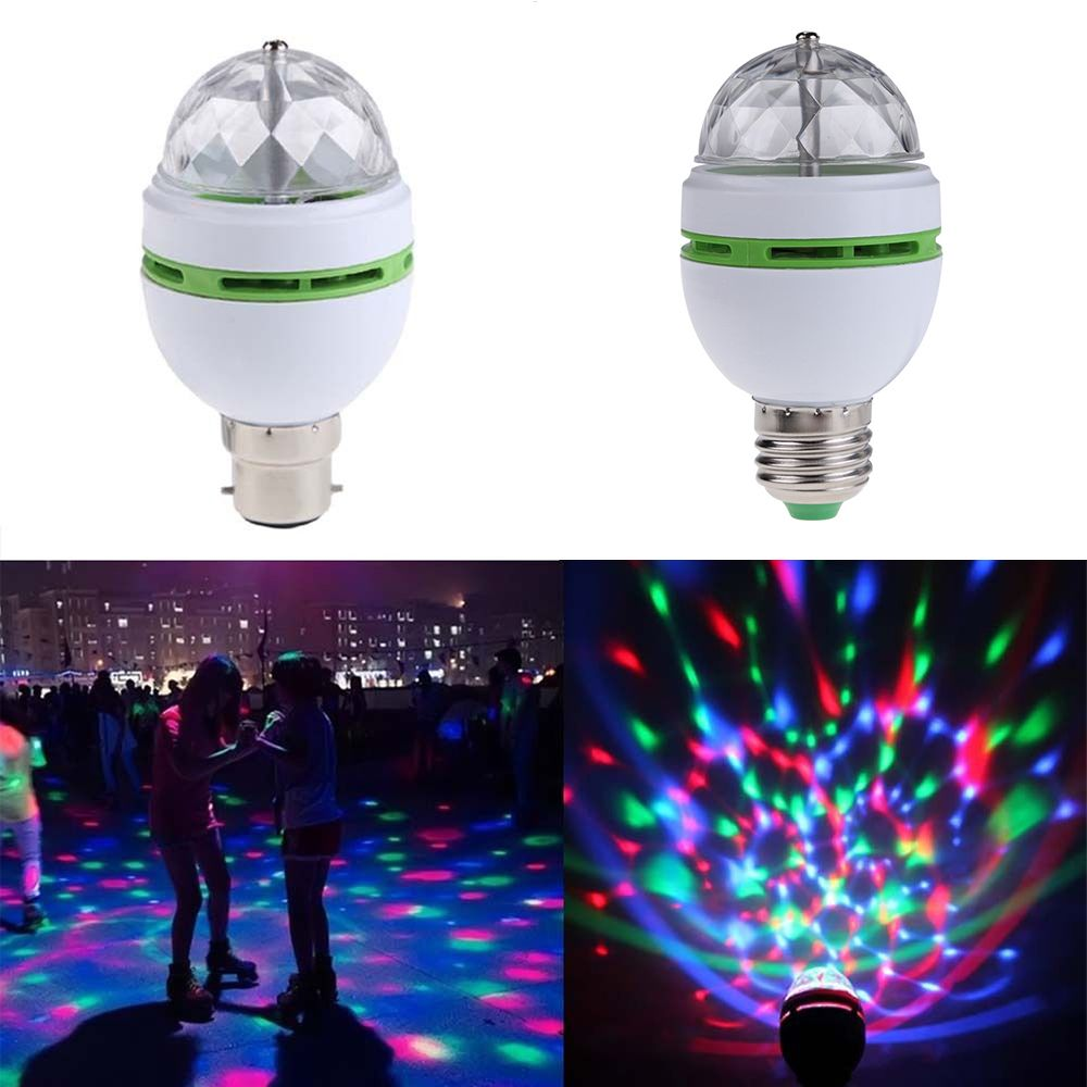 Popular Fashion Creative Multicolor 3W E27 B22 RGB Crystal Ball Rotating LED Stage Light Bulbs Disco Party Bar Decor Bulb Lamp