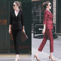autumn Sexy Slim 2 piece set women Suit jacket coat and trousers Casual fashion OL office business Ladies suits