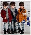 Invierno 2015 nueva capa del muchacho muchachos abrigo ropa de invierno gruesa chaqueta acolchada Parkas niño de inglaterra de la pu algodón 4-10 años