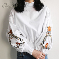Ordifree Autumn Summer Women White Shirt Floral Embroudery Blouse Long Sleeve Flower Embroidered Black Shirt Bluzas