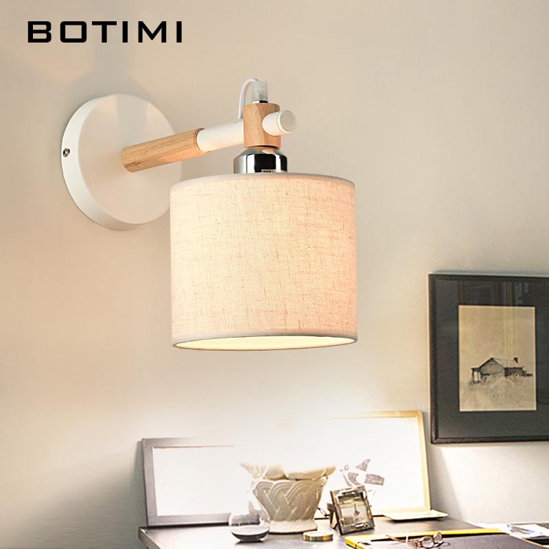 BOTIMI Nordic E27 wall Lamp applique murale luminaire Wooden Wall Sconce For Bedroom American Style Home Lighting feuillet octave histoire de sibylle