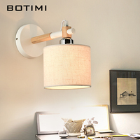 BOTIMI Nordic E27 wall Lamp applique murale luminaire Wooden Wall Sconce For Bedroom American Style Home Lighting