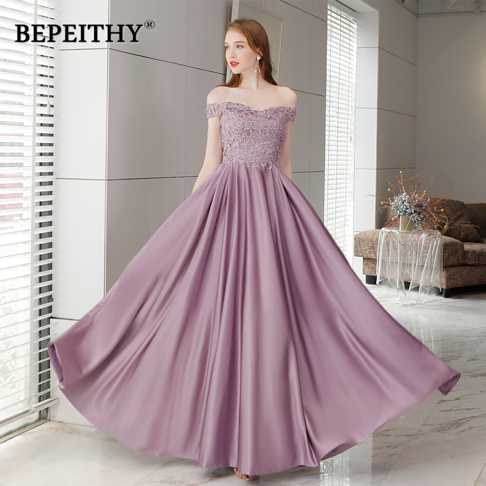 Robe De Soiree Off The Shoulder Purple Long Evening Dress Floor Length Vintage Prom Dress Vestido De Longo 2019