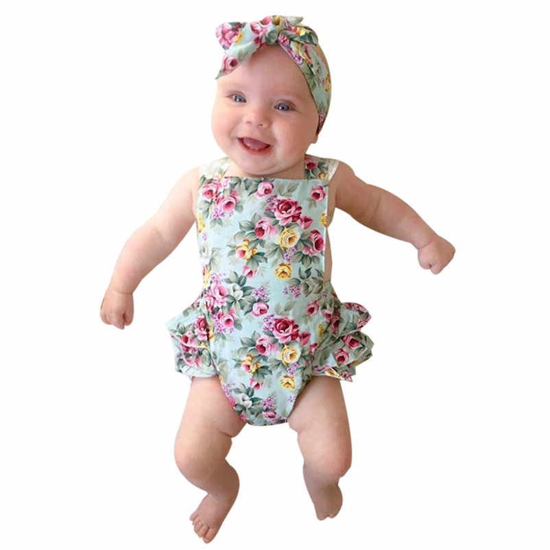 22b4a44b45bb Detail Feedback Questions about 2018 NEW Summer Fashion Newborn Kids Baby  Girls Clothes Floral Outfits Set Lace Jumpsuit Romper Playsuit Children  Clothing ...