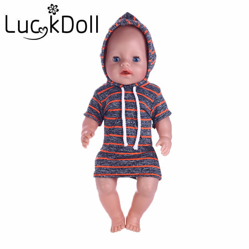 luck doll New arrival striped hooded skirt for 43cm newborn baby Zapf and 18 inch American girl doll accessories viking no luck