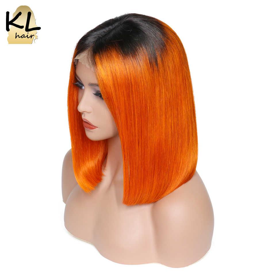 KL Hair Ombre Цвет боб парики предварительно сорвал кружева передние человеческие волосы парики прямые бразильские волосы remy короткие парики с волосами младенца