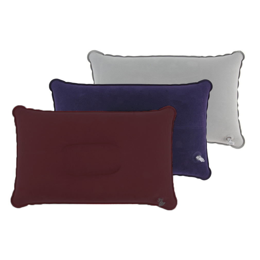 3 Colors Portable Outdoor Folding Air Inflatable Pillow Double Sided Flocking Cushion for Travel Plane Home Hotel Sleep Supplies