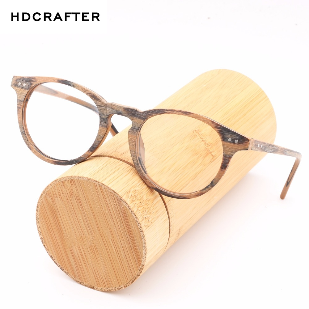 HDCRAFTE Wooden Eyeglasses Frames Myopic Glasses Frame Men Women Optical Spectacle Wood Clear Lens Reading Round Plain Glasses image