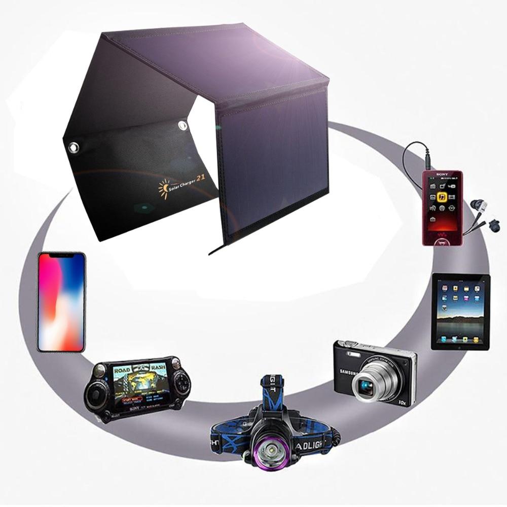 5 V 21 W panneau solaire cellules solaires double USB chargeur solaire Sunpower Batteries téléphone tablette MP3/4 charge pliable panneaux solaires
