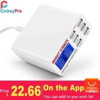 CinkeyPro Display LED Carregador de 6 Portas USB Para iPad iPhone Samsung Tablet Rápido Carregamento 5 V/6A Adaptador de Parede telefone Universal