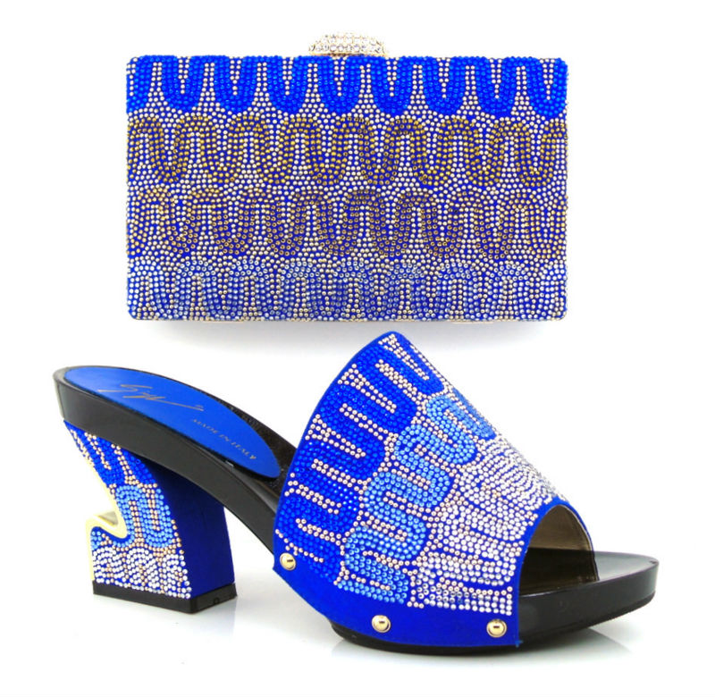 ФОТО FREE SHIPPING!!Italian desige BLUE color shoes with matching bags shining in wedding! GF24 SIZE 38-42 HOT11.11