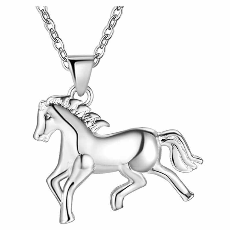 Czyste srebro 925 naszyjniki dla kobiet koń naszyjnik choker łańcuszek Collier biżuteria akcesoria Bijoux prezenty