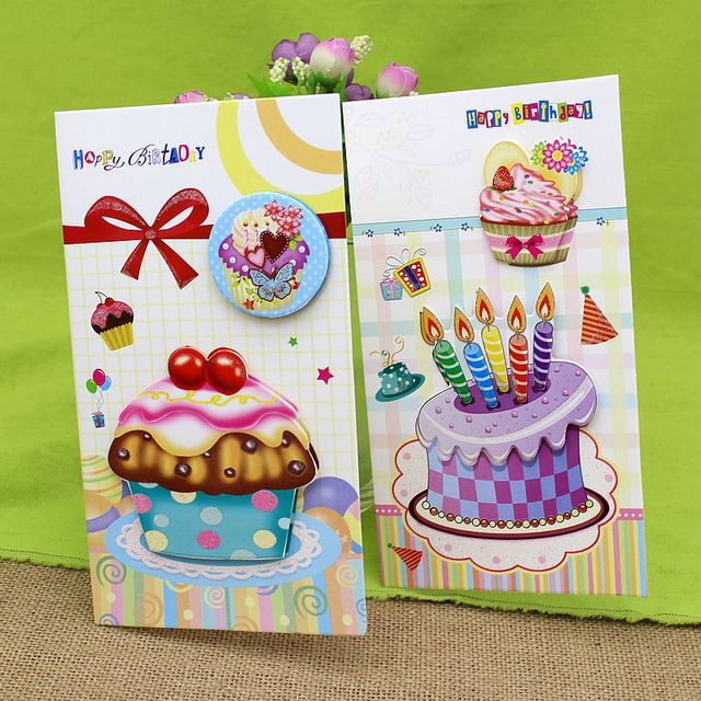 Free Ship1lot24pc Cartoon Birthday Cake Stereo Message Business Card Greeting Festival Paper Cards