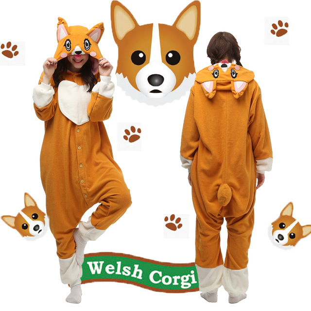 Christmas Halloween Birthday Gift Corgi Dog Homewear Hoodie Pajamas Onesies Sleepwear Robe for Adults
